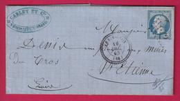 N°22 GC 4132 VENISSIEUX RHONE CAD TYPE 22 POUR ST ETIENNE INDICE 13 - 1849-1876: Période Classique