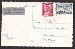 Thailand: Airmail Picture Postcard To Netherlands, 1960s?, 2 Stamps, King, Goddess, Uncommon Air Label (traces Of Use) - Thaïlande
