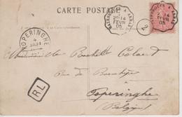 Cachet Ambulant Hazebrouck à Arras 14 Février 1905 - Chiffre 2 Et Marque RL - Arrivée à Poperinghe Sur Carte Postale - Spoorwegpost