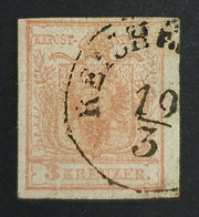 1850-1854 Coat Of Arms, 3 Kr, Austro-Hungarian Monarchy, Austria, Österreich, Autriche, Used - Gebruikt