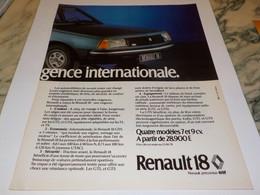 ANCIENNE PUBLICITE 4 MODELES DE  R18  RENAULT 1978 - Cars
