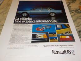 ANCIENNE PUBLICITE LA SECURITE   R18  RENAULT 1978 - Cars