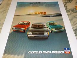 ANCIENNE   PUBLICITE  LES TROIS HORIZON  CHRYSLER DE SIMCA 1978 - Cars