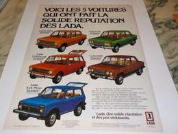ANCIENNE PUBLICITE 5 VOITURES LADA 1979 - Cars