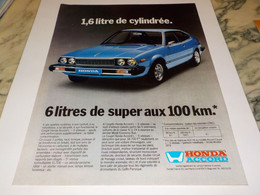 ANCIENNE   PUBLICITE VOITURE HONDA ACCORD  1979 - Cars