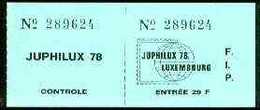 Luxembourg 1978 'Juphilux 78' Junior Int Stamp Exhibition 29f Admission Ticket Complete With Counterfoil - Ongebruikt