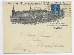 FRANCE N°140 ROULETTE ENVELOPPE ENTETE GRANDS MAGASINS SAMARITAINE PARIS 1924 - 1906-38 Semeuse Con Cameo