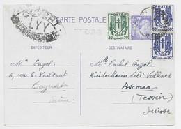FRANCE CHAINE 50CX2+30C SUR ENTIER 1FR20 IRIS PLI CENTRAL CP BAGNOLET SEINE 20.5.1945 POUR SUISSE CENSURE LYY - 1941-66 Coat Of Arms And Heraldry