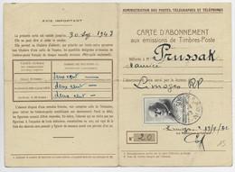 FRANCE PETAIN 50FR SEUL CARTE ABONNEMENT (plis) PTT LIMOGES RP 13.9.1942 AU TARIF - 1941-42 Pétain