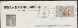 EUROPA 50c Y.T.1676 SEUL Sur Enveloppe De La MAIRIE De 10 LA CHAPELLE-SAINT-LUC Le 1 12 1971  Pour 10 TROYES - 1961-....