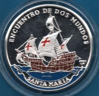 CUBA 10 PESOS 2001 KM# 772 Argent 999‰ Silver  PROOF Colorized SANTA MARIA  Bateau ENCUENTO DE DOS MUNDOS - Cuba