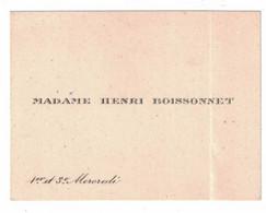 MADAME HENRI BOISSONNET 1er Et 3e MERCREDI - Visiting Cards