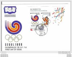 213 - 38 - Enveloppe De Corée Du Sud - Bloc JO Seoul 1988 Et Oblit Spéciale Olymphilex 1985 - Lausanne - Summer 1988: Seoul