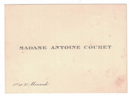 MADAME ANTOINE COURET 1er Et 3e MERCREDI - Visiting Cards