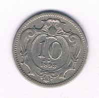 10 HELLER 1893    OOSTENRIJK /7292/ - Austria