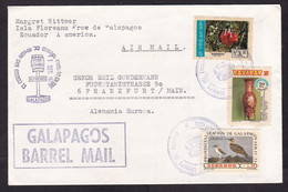 Ecuador: Airmail Cover To Germany, 3 Stamps, Flower, Bird, Heritage, Cancel Galapagos Barrel Mail, Rare (traces Of Use) - Equateur