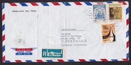 Ecuador: Registered Airmail Cover To Germany, 3 Stamps, History, Logo, Sent By Embassy Peru (damaged) - Ecuador