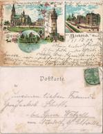 Litho AK Biebrich-Wiesbaden Gruss-Aus-Litho-AK Kirche, Schloss, Wasserturm 1902 - Wiesbaden