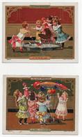 CHROMO Au Bon Marché J. Minot Le Tour Du Lac Le Parc Aérostatique Jeux Jouets Enfants Filles Poupées Ballons (2 Chromos) - Au Bon Marché