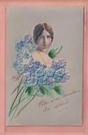 RARER OLD EMBOSSED - RELIEF - POSTCARD -  THEATRE STAR CLEO DE MERODE  IN FLOWER DECORATION  - 1900'S - Altri
