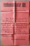 Deutsches Reich / Belgien 1940, Kundmachung Feldkommandantur 681 - Documents