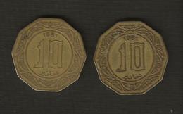 Algérie > Monnaie > Lot 2 Pièces 10 Dinars, 1981  Aluminum-Bronze, - Algeria