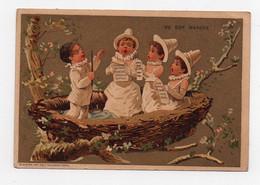 CHROMO Dorée Au Bon Marché Sirven Pierrot Colombines Chant Baguette Nid - Au Bon Marché