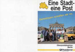 """(BT-2) WB Faltkarte """"Eine Stadt-eine Post"""" EF Mi 861 SSt 31.12.1991 BERLIN 12 """"Letzter Gültigkeitstag Der BERLIN-Post... - Ohne Zuordnung"""