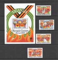 PM018 UGANDA OLYMPIC GAMES SEOUL 1988 #587-590 BL79 MICHEL MNH - Summer 1988: Seoul