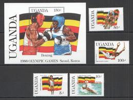 PM020 1987 UGANDA OLYMPIC GAMES SEOUL 1988 #534-37 BL70 MICHEL 11 EURO SET+BL MNH - Summer 1988: Seoul