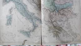 Rare Double Carte De L'ITALIE DE LA TURQUIE ET DE LA GRECE Par Drioux & Leroy.  Vers 1872. - Geographical Maps