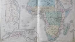 Rare Double Carte Physique Et Politique De L'AFRIQUE Par Drioux & Leroy.  Vers 1872. - Geographical Maps