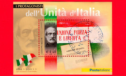 ITALIA - Usato - 2011 - Protagonisti Dell'unità D'Italia - BF - 0,60 € • Giuseppe Mazzini - Blocs-feuillets