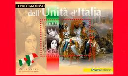 ITALIA - Usato - 2011 - Protagonisti Dell'unità D'Italia - BF - 0,60 € • Clara Maffei E Cristina Trivulzio Belgioioso - Blocs-feuillets
