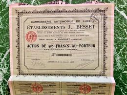 CARROSSERIE  AUTOMOBILE  De  LUXE  ÉTABLISSEMENTS  J. BESSET -----Action  De  500 Frs - Cars
