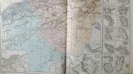 Rare Double Carte D'ALGERIE PHYSIQUE ET POLITIQUE - COLONIES FRANCAISES Par Drioux & Leroy.  Vers 1872. - Geographical Maps