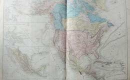 Rare Double Carte Physique Et Politique  DE L'AMERIQUE DU NORD Par Drioux & Leroy.  Vers 1872. - Geographical Maps