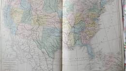 Rare Double Carte Physique Et Politique  DES ETATS-UNIS, CANADA Et Une Partie DU MEXIQUE Par Drioux & Leroy.  Vers 1872. - Geographical Maps