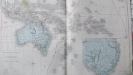 Rare Double Carte Physique Et Politique De L'OCEANIE Par Drioux & Leroy.  Vers 1872. - Geographical Maps