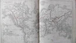 Rare Double Carte De La PLANISPHERE Par Drioux & Leroy.  Vers 1872. - Geographical Maps