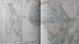 Rare Double Carte Physique Et Politique L'AFRIQUE Par Drioux & Leroy.  Vers 1872. - Geographical Maps