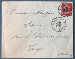 France N°138 Sur Enveloppe TAD Convoyeur PARIS à TROYES 21.9.1912 - (C1258) - 1877-1920: Periodo Semi Moderno