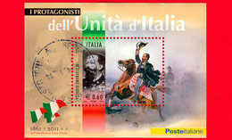 ITALIA - Usato - 2011 - Protagonisti Dell'unità D'Italia - 0,60 € • Vittorio Emanuele II - Blocs-feuillets