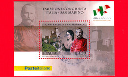 ITALIA - Usato - 2011 - 150 Anni Cittadinanza Sanmarinese A Giuseppe Garibaldi, Anita E Rocca Di San Marino - 1.50 - Blocs-feuillets