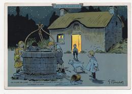 Grande CHROMO Au Bon Marché Plantet Au Clair De Lune N° 4 Puits Seau Enfants Le Grappin S'accroche à Un Caillou Illustra - Au Bon Marché