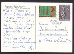 Liechtenstein: Picture Postcard To Germany, 2 Stamps, UPU Logo, Pottery (traces Of Use) - Lettres & Documents