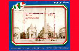 ITALIA - Usato - 2011 - 150º Anniversario Dell'unità D'Italia - 1,50 € • Piazza Del Popolo - Congiunta Vaticano - Blocs-feuillets