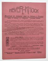 Pub Automobilia : Radiator Neverleak & Never-Knock - Années 1920 - Etablissements Frank J. Fay à Bruxelles - Cars