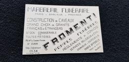 Carte De Visite St Saint Ouen 93 FROMENTI AV Du Cimetière Parisien POMPES FUNEBRES MARBRERIE CAVEAUX & Bon Commercial - Visiting Cards
