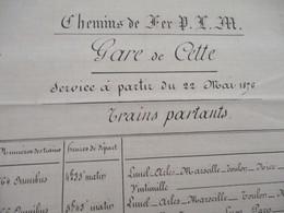 Sète Cette Hérault Chemins De Fer PLM Service à Partir Du 22 Mai 1876 - Railway